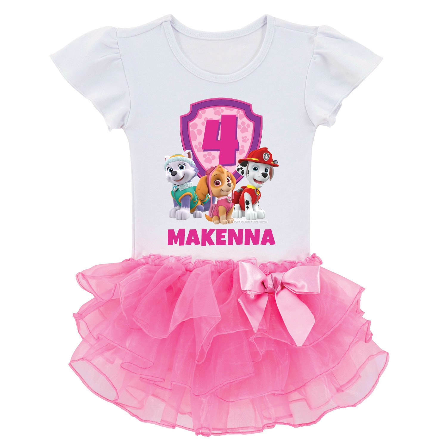 Personalized Paw Patrol Birthday Pups Toddler Girl Tutu Tee